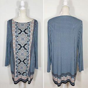 J. Jill • paisley print long sleeve tunic dress